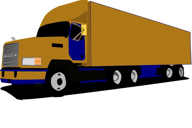 kreslený kamion, hnědá barva