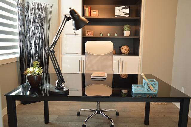 kancelář, lampa, židle