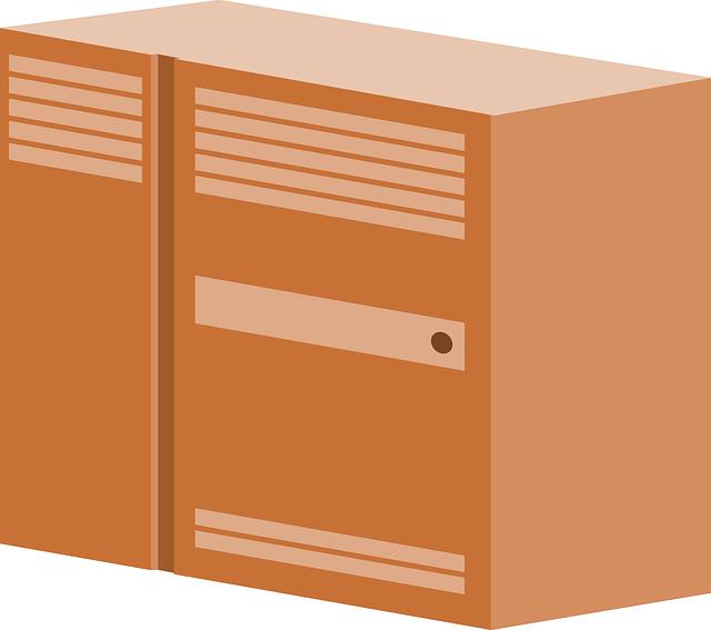 oranžová skříňka,kreslená