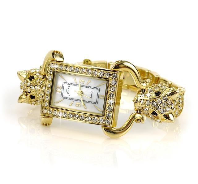 zlaté hodinky, dámské, kamínky