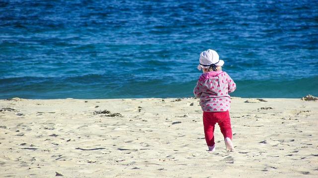 pláž, moře, dítě