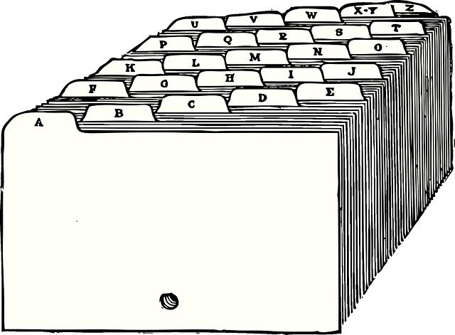kartotéka s písmenky